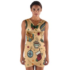 Cute Vintage Christmas Pattern Wrap Front Bodycon Dress