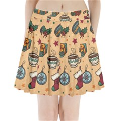 Cute Vintage Christmas Pattern Pleated Mini Skirt
