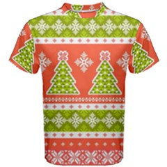 Christmas Tree Ugly Sweater Pattern Men s Cotton Tee