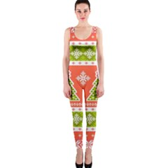 Christmas Tree Ugly Sweater Pattern Onepiece Catsuit