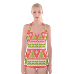 Christmas Tree Ugly Sweater Pattern Boyleg Halter Swimsuit