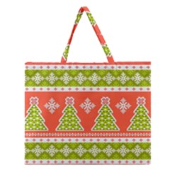 Christmas Tree Ugly Sweater Pattern Zipper Large Tote Bag