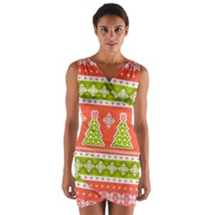 Christmas Tree Ugly Sweater Pattern Wrap Front Bodycon Dress
