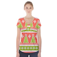 Christmas Tree Ugly Sweater Pattern Short Sleeve Front Detail Top