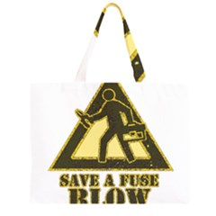 Save A Fuse Blow An Electrician Zipper Large Tote Bag