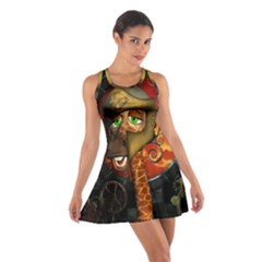 Funny Giraffe With Helmet Cotton Racerback Dress