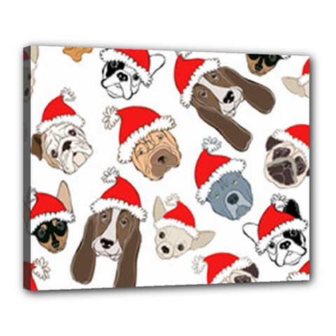 Christmas Puppies Canvas 20  X 16