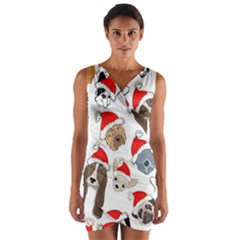 Christmas Puppies Wrap Front Bodycon Dress