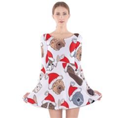 Christmas Puppies Long Sleeve Velvet Skater Dress
