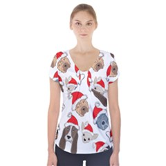 Christmas Puppies Short Sleeve Front Detail Top