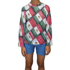 Mexican Flag Pattern Design Kids  Long Sleeve Swimwear