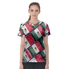 Mexican Flag Pattern Design Women s Sport Mesh Tee