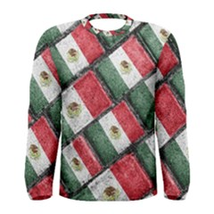Mexican Flag Pattern Design Men s Long Sleeve Tee