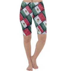 Mexican Flag Pattern Design Cropped Leggings