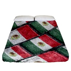 Mexican Flag Pattern Design Fitted Sheet (queen Size)