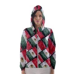Mexican Flag Pattern Design Hooded Wind Breaker (women)