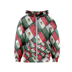 Mexican Flag Pattern Design Kids  Zipper Hoodie