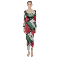 Mexican Flag Pattern Design Long Sleeve Catsuit