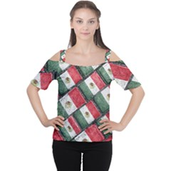 Mexican Flag Pattern Design Cutout Shoulder Tee