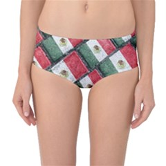 Mexican Flag Pattern Design Mid Waist Bikini Bottoms