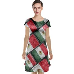 Mexican Flag Pattern Design Cap Sleeve Nightdress