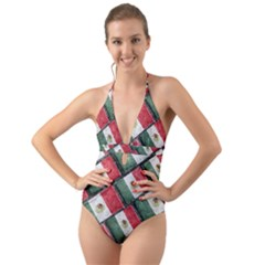Mexican Flag Pattern Design Halter Cut Out One Piece Swimsuit