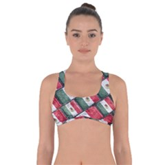 Mexican Flag Pattern Design Got No Strings Sports Bra