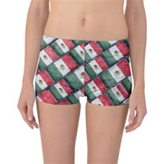 Mexican Flag Pattern Design Reversible Boyleg Bikini Bottoms