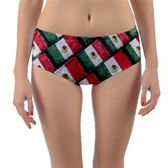 Mexican Flag Pattern Design Reversible Mid Waist Bikini Bottoms