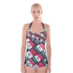 Mexican Flag Pattern Design Boyleg Halter Swimsuit