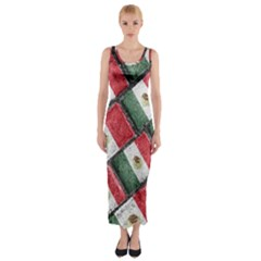 Mexican Flag Pattern Design Fitted Maxi Dress