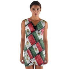Mexican Flag Pattern Design Wrap Front Bodycon Dress
