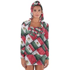 Mexican Flag Pattern Design Long Sleeve Hooded T Shirt