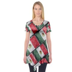 Mexican Flag Pattern Design Short Sleeve Tunic