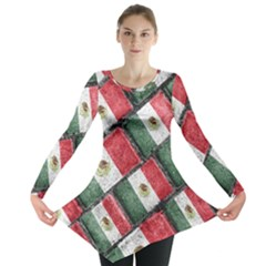 Mexican Flag Pattern Design Long Sleeve Tunic