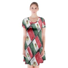 Mexican Flag Pattern Design Short Sleeve V Neck Flare Dress