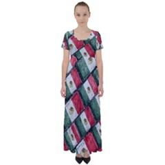 Mexican Flag Pattern Design High Waist Short Sleeve Maxi Dress