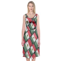 Mexican Flag Pattern Design Midi Sleeveless Dress