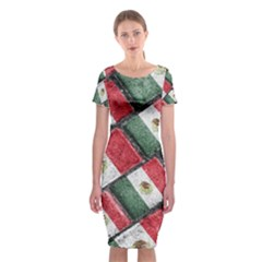 Mexican Flag Pattern Design Classic Short Sleeve Midi Dress