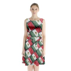 Mexican Flag Pattern Design Sleeveless Waist Tie Chiffon Dress