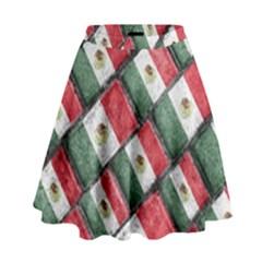 Mexican Flag Pattern Design High Waist Skirt