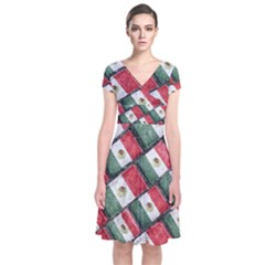 Mexican Flag Pattern Design Short Sleeve Front Wrap Dress