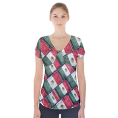 Mexican Flag Pattern Design Short Sleeve Front Detail Top