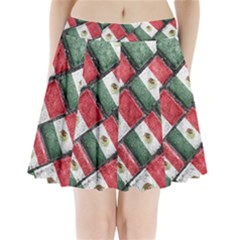 Mexican Flag Pattern Design Pleated Mini Skirt