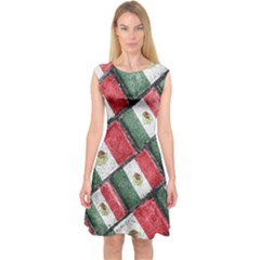 Mexican Flag Pattern Design Capsleeve Midi Dress