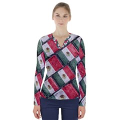 Mexican Flag Pattern Design V Neck Long Sleeve Top