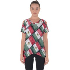 Mexican Flag Pattern Design Cut Out Side Drop Tee