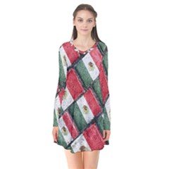 Mexican Flag Pattern Design Flare Dress