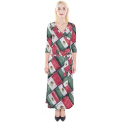 Mexican Flag Pattern Design Quarter Sleeve Wrap Maxi Dress