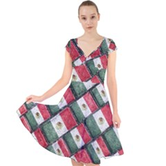 Mexican Flag Pattern Design Cap Sleeve Front Wrap Midi Dress
